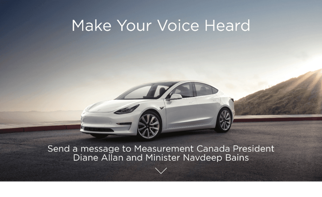 Tesla petition charging canada