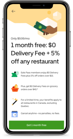Uber Eats Launches ?Eats Pass? in Canada with 1 Month Free Trial