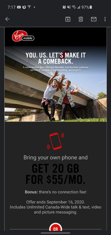 Virgin mobile winback