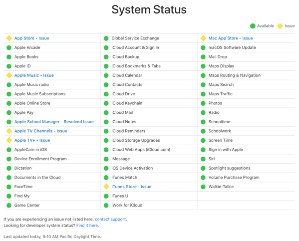 Apple services down