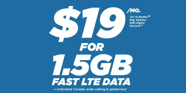 Freedom mobile $19 1 5gb lte