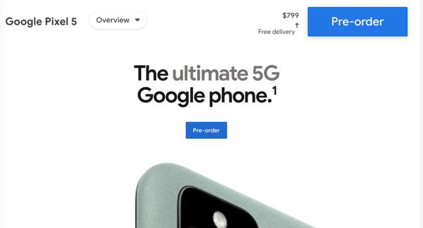 Google pixel 5 pricing canada