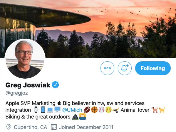 Greg joswiak twitter bio