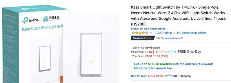 Kasa light switch