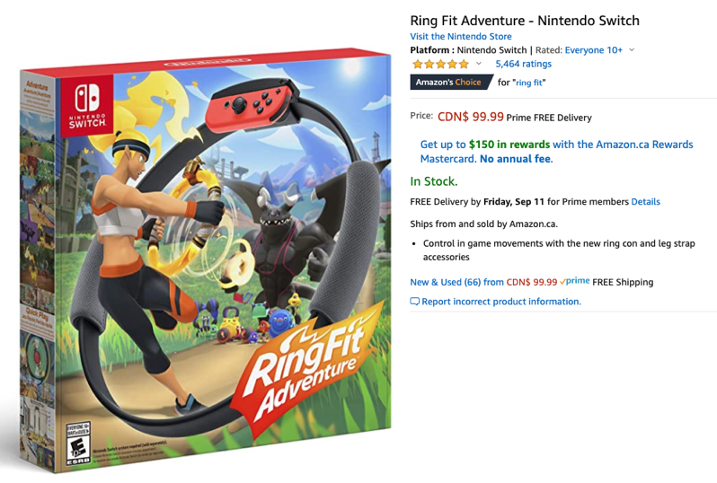 Ring fit adventure amazon