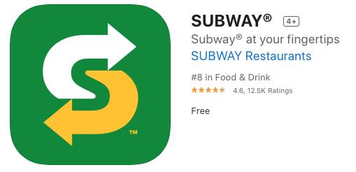 Subway ios app promo