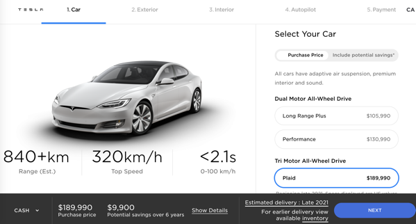 Tesla model s plaid canada website