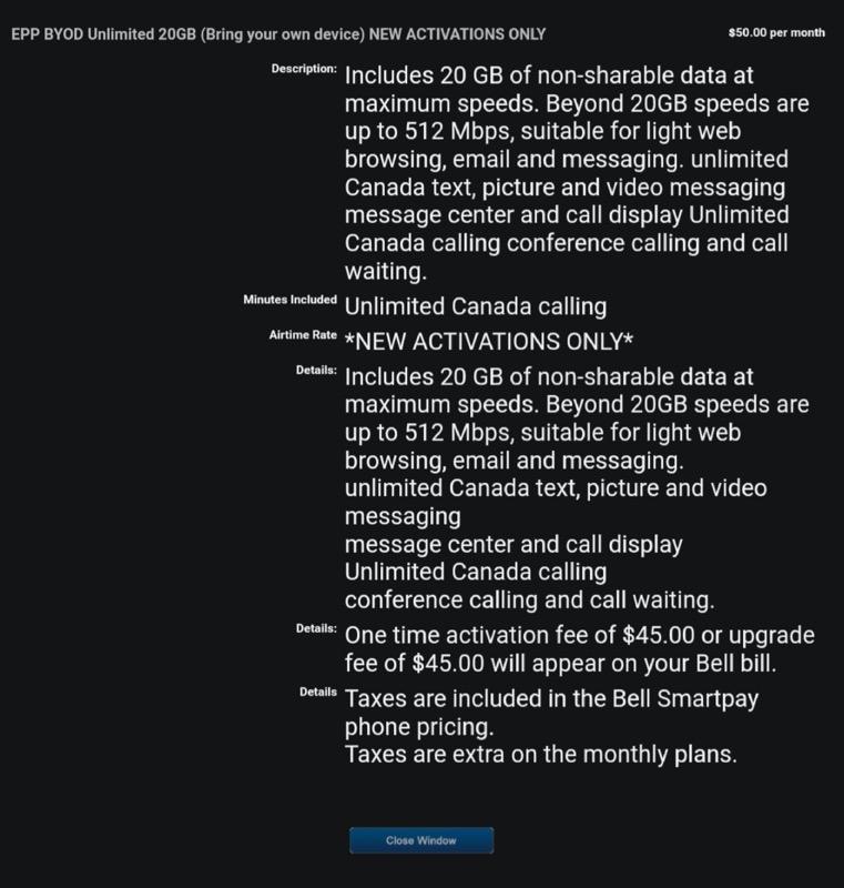 Bell $50 20gb epp