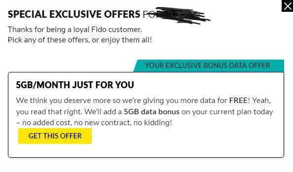 Fido 5gb free data