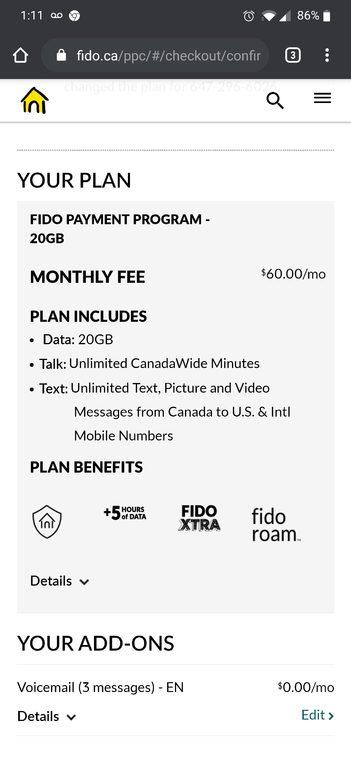 Fido $60 20gb