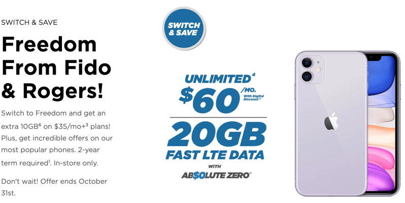 Freedom mobile fido rogers switch