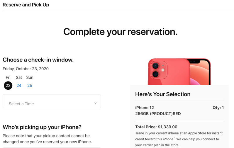 Iphone 12 reserve pickup date