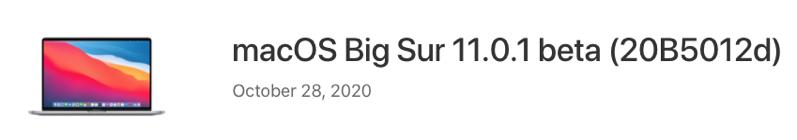 MacOS big sur 11 0 1