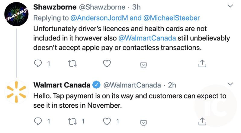 Walmart canada tap payment