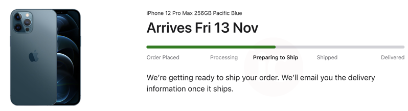 Iphone 12 pro max preparing to ship