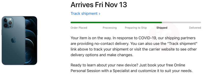 Iphone 12 pro max shipped