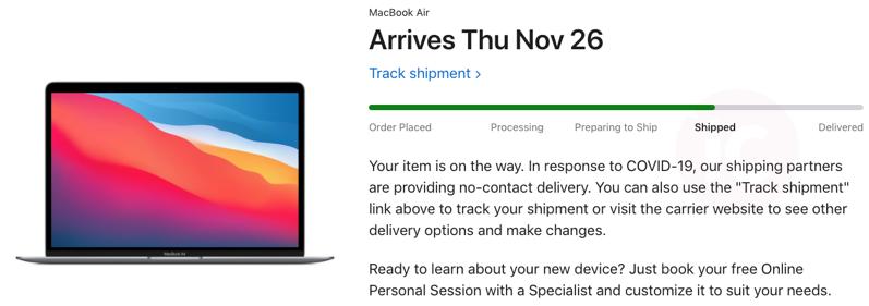 Macbook air shipped
