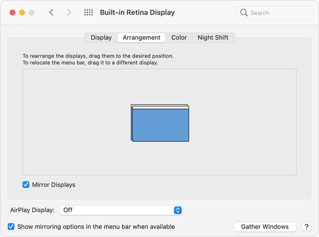 Macos big sur system prefs displays arrangement mirrored