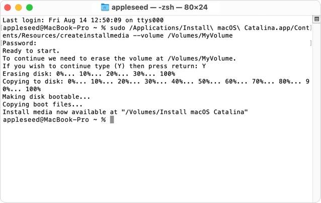 Macos big sur terminal create bootable installer