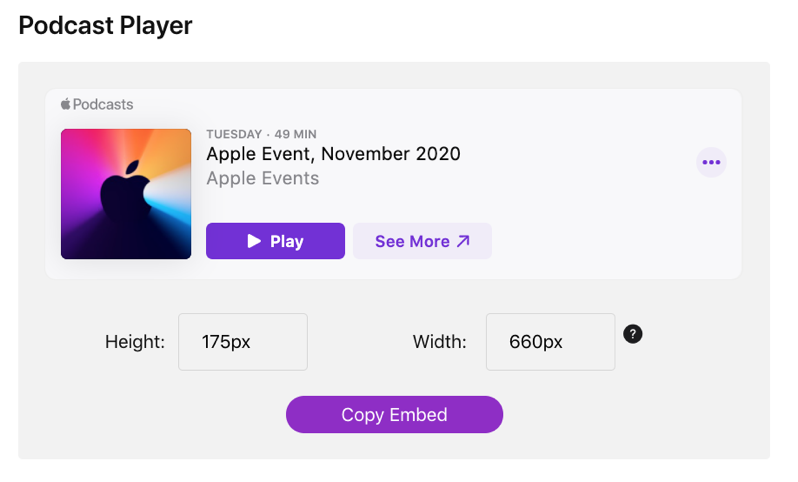 Podcast player embed