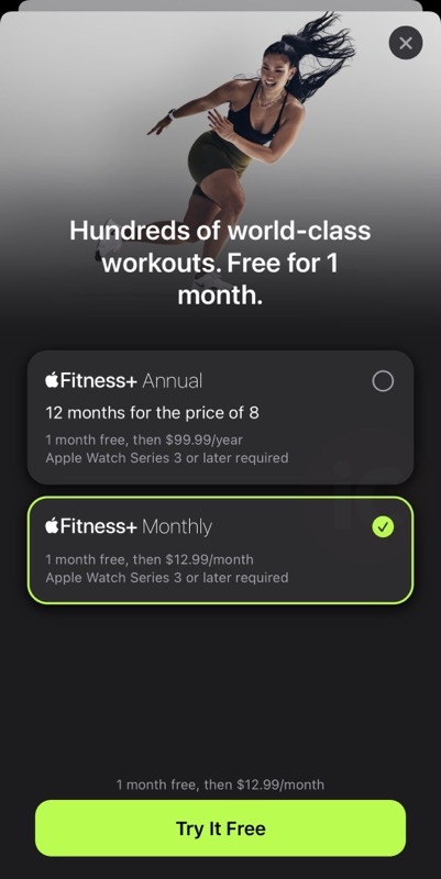 Apple watch fitness+ 1 month