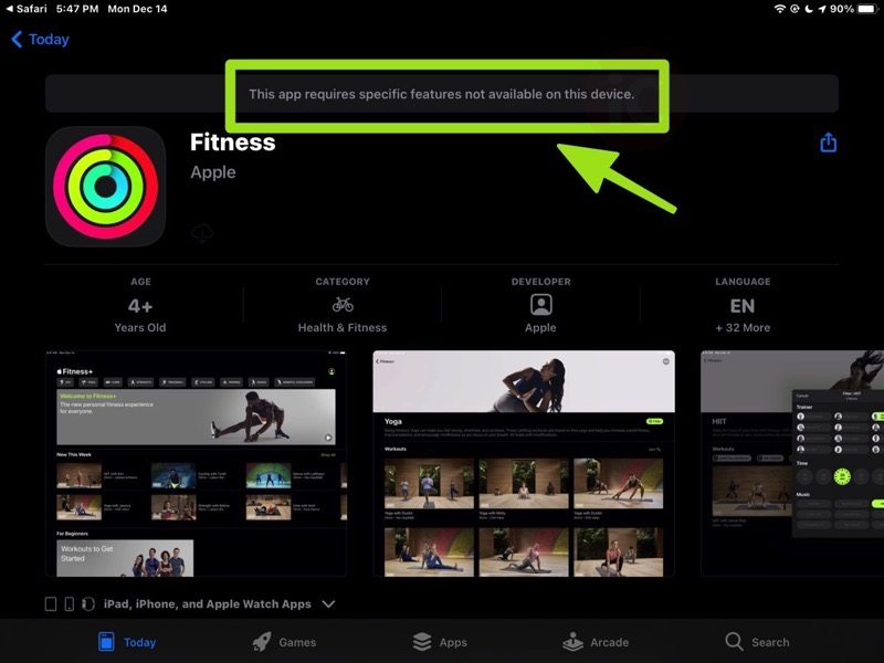 Fitness ipad app error