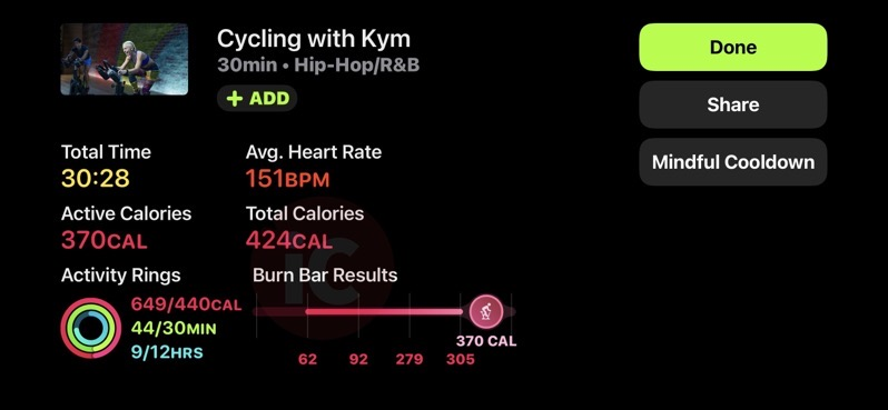 Fitness plus cycling summary
