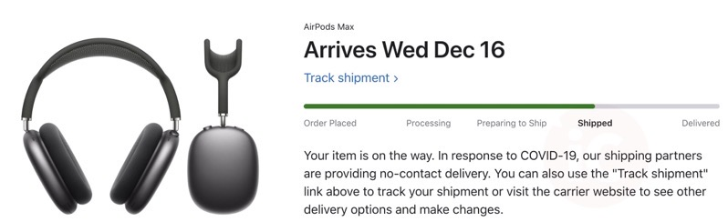 Airpods max shipped