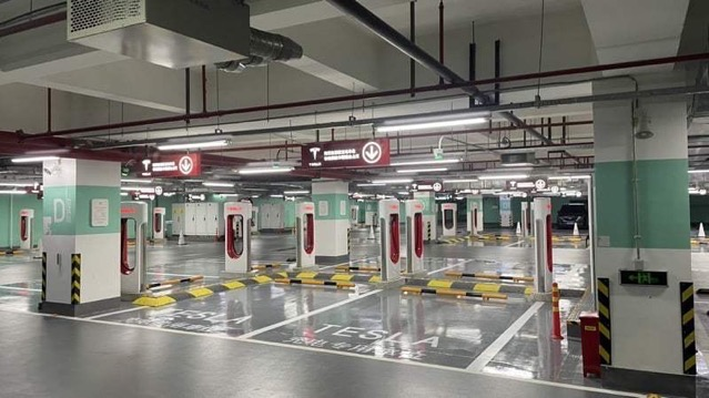 Tesla supercharger shanghai worlds largest