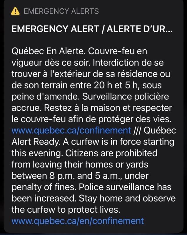 Quebec wireless alert covid 19