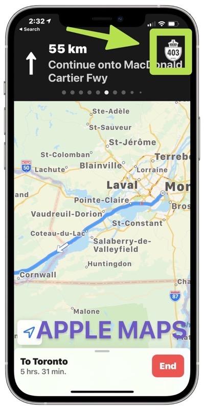 Apple maps highway 403 error directions
