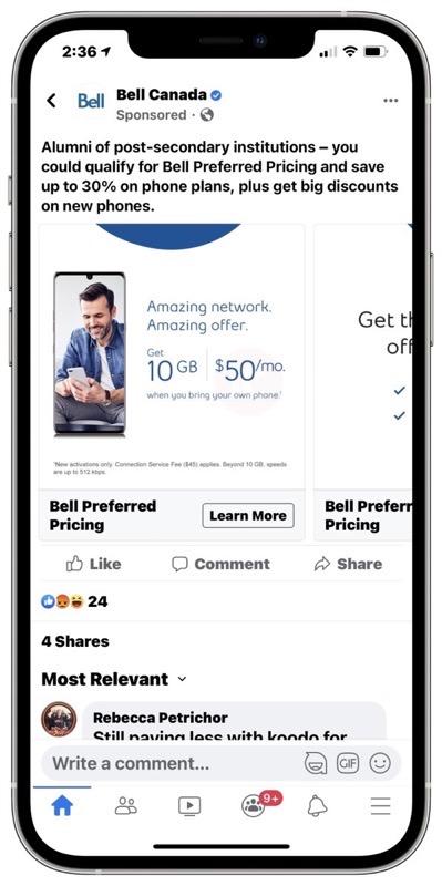 Bell $50 10gb