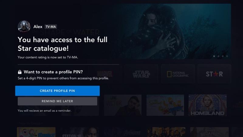 Disney+ star setup create PIN profile
