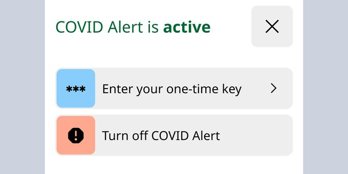 Covid alert menu march 2021