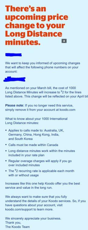 Koodo international long distance price increase