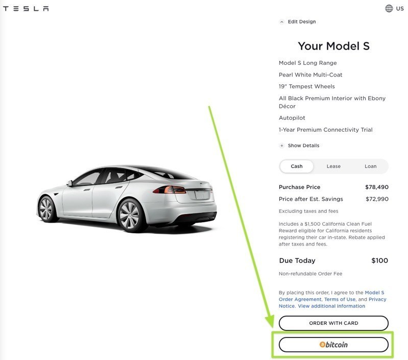 Tesla website bitcoin payment