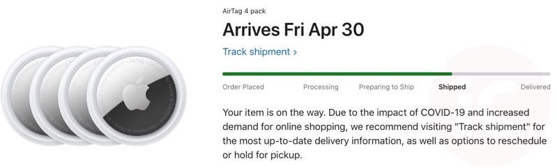Airtags shipped