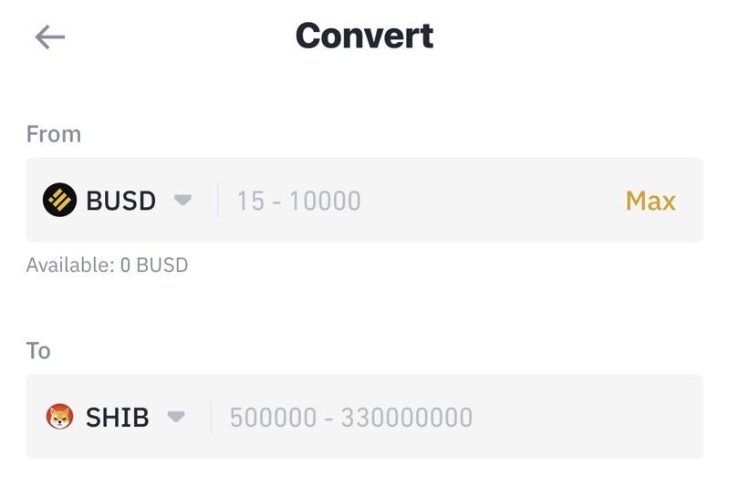 Convert BUSD to SHIB