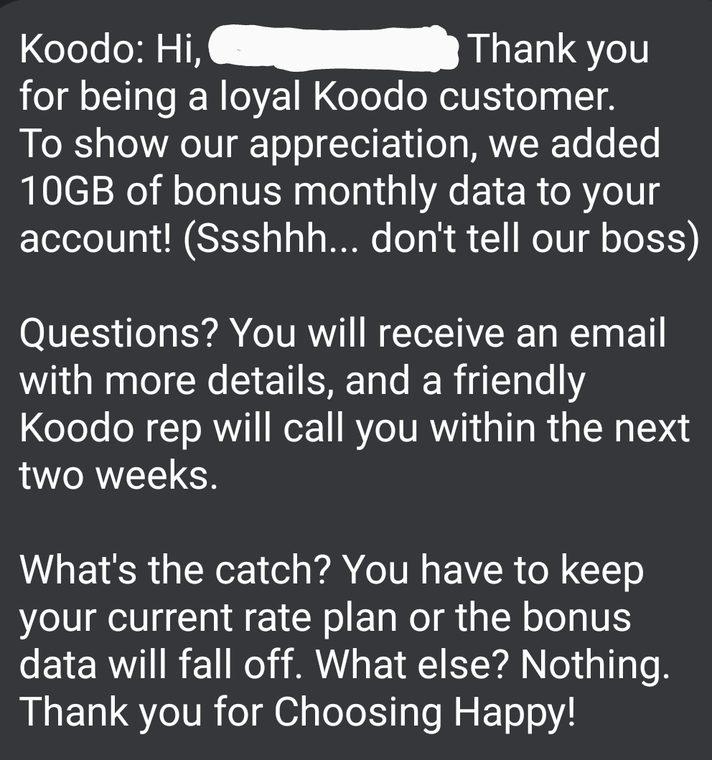 Koodo 10gb bonus
