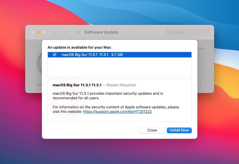 MacOS big sur 11 3 1