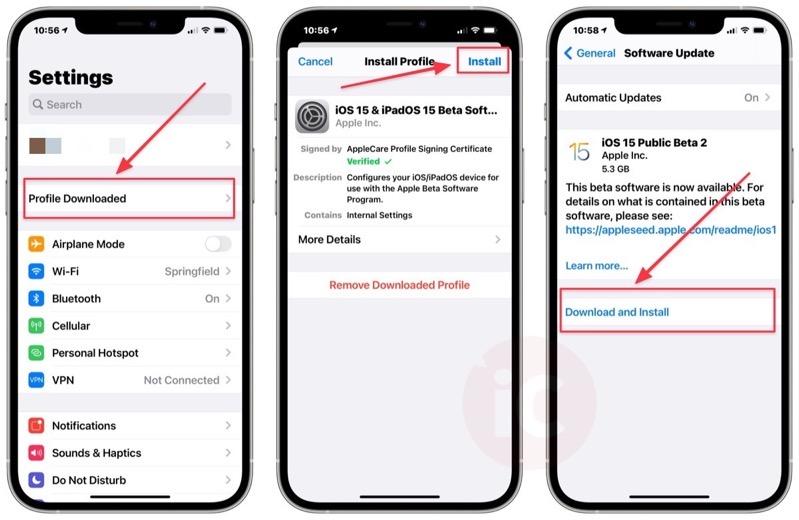 How to install ios 15 public beta 9