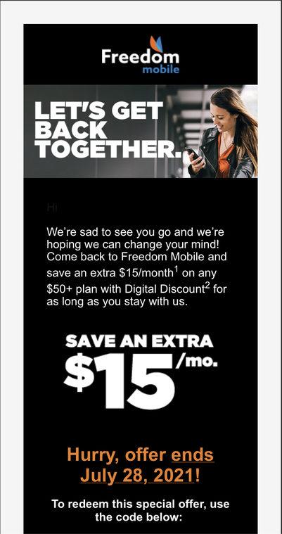 Freedom mobile winback