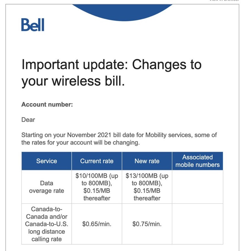 Bell data overage rates increasing