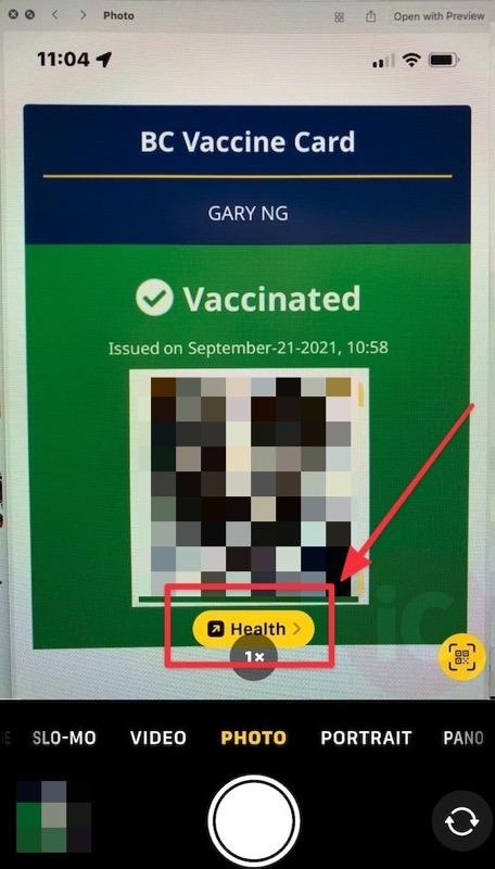 Camera health app vaccine QR code