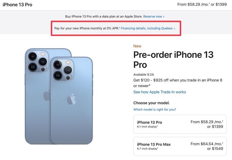 Iphone 13 0 APR financing