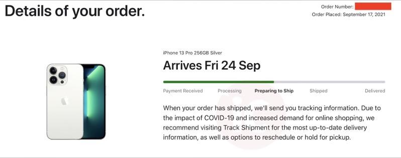 Iphone 13 pro preparing to ship