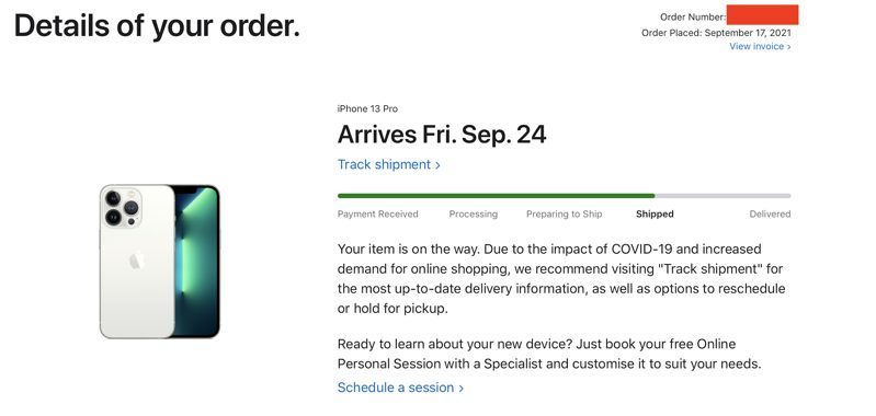 Iphone 13 shipped