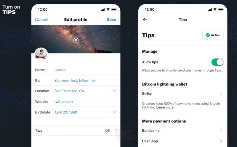 Twitter tips feature